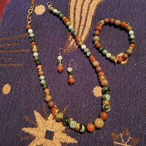 Gorgeous Stone Necklace,  Bracelet,  & Earrings